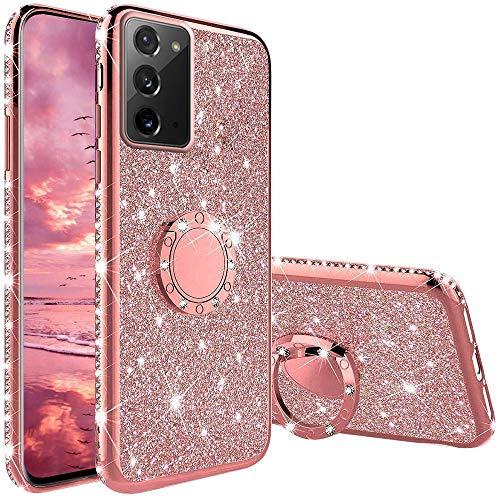 Funda para Samsung Galaxy Note 20, Glitter Brillante Diamante con 360 Grado Anillo Kickstand Ultra Delgada Premium Fina Resistente Silicona TPU Doble Capa Anti Choques Protectora Carcasa - Oro Rosa