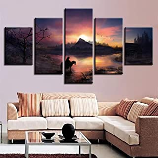 YI KUI Canvas Prints Wall Art Picture Home Decoration Posters 5 Panel Witcher 3 Wild Hunt Living HD Printed Canvas Modern Painting, A, 30 × 50 × 2 + 30 × 70 × 2 + 30 × 80 × 1