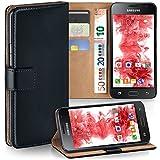 MoEx Premium Book-Hülle Handytasche kompatibel mit Samsung Galaxy J1 (2016) | Handyhülle mit Kartenfach & Ständer - 360 Grad Schutz Handy Tasche, Schwarz