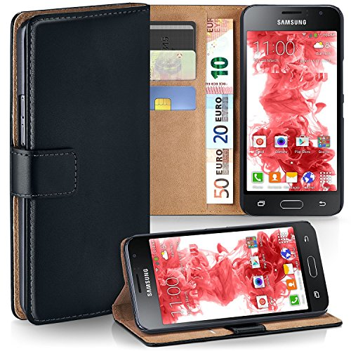 MoEx Premium Book-Case Handytasche kompatibel mit Samsung Galaxy J1 (2016) | Handyhülle mit Kartenfach und Ständer - 360 Grad Schutz Handy Tasche, Schwarz