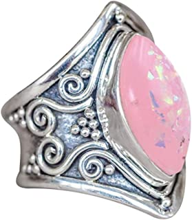 Ladies Ring Jewelry,Vanvler Boho Natural Gemstone Marquise Pink Opal Personalized Ring
