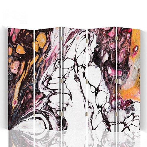 Raumteiler Trennwände Foto Paravent Spanische Wand Bedruckt aufLeinwand Trennwand Deko Design Paravent beidseitig 5 teilig 360° 180x150 cm Mayuko Miura Farbe Abstrakt Weiß BRAUN ORANGE