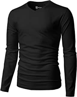 H2H Mens Casual Premium Slim Fit T-Shirts V-Neck Long Sleeve Cotton Blended