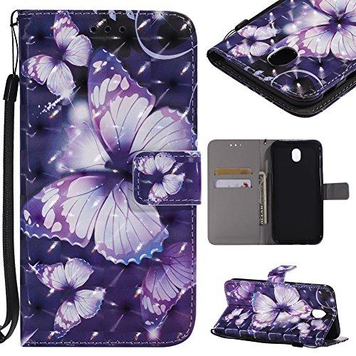KM-WEN - Funda para Sony Xperia C6 con diseño de Cuatro Hojas y Flores con Cierre magnético de Piel sintética Tipo Cartera, Color-4, Samsung Galaxy J7 DUOS (2017)