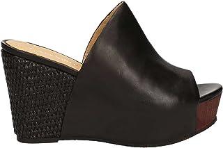 da0a4da250c4a5 CAF HD123 Noir Les Pantoufles en Cuir Noir obstrue Femme Corde Coin