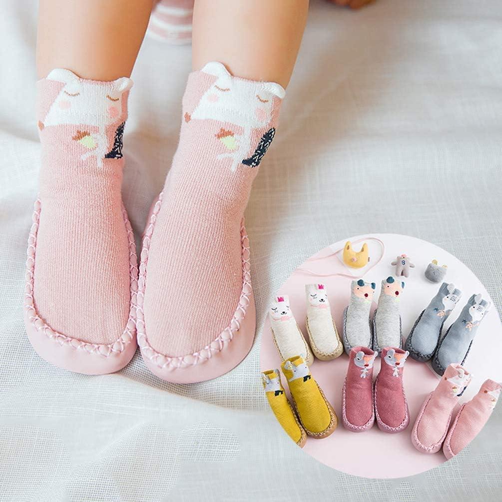 FJWYSANGU Toddler Cotton Slippers Socks Non Skid Anti Slip First Walkers with Grips for Infant Boys Girls