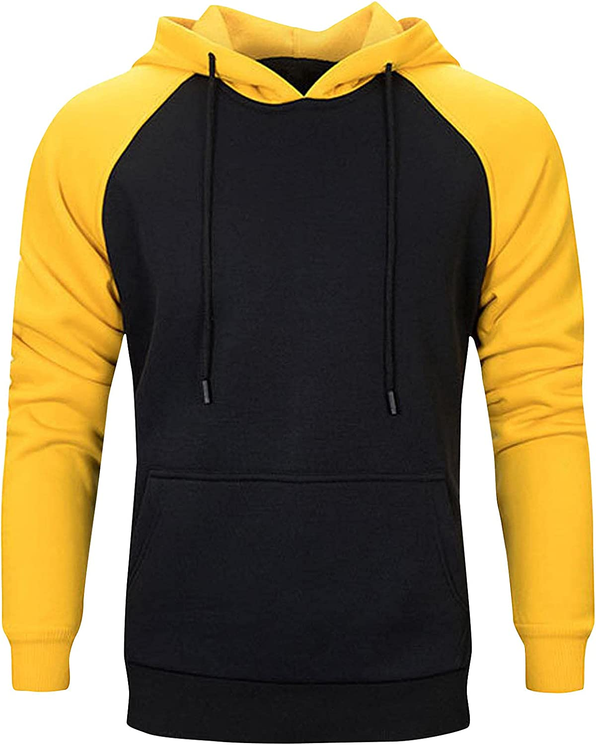 HONHUZH Mens Jacksonville Mall Ranking TOP20 Hoodies with Pocket Workout Block Patchwork H Color