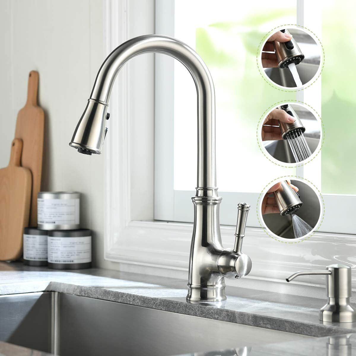 Arsem Kitchen Faucet with Pull Down Nickel Sprayer Stainless Hi Popular Long Beach Mall brand in the world