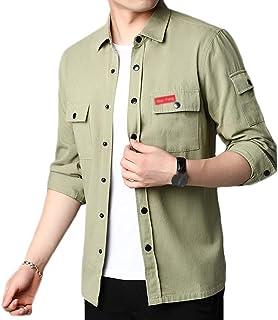 Hombre Camisa Ajuste Regular Manga Larga Color Sólido Camisa Casuales Cargo Chaqueta De La Camisa con Bolsillos Delanteros...