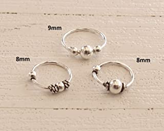 Set of 3 Tiny Dainty Bali Hoops Sterling Silver, 9mm 8mm Hoops for Nose Ring and for Small Ears for Cartilage and Helix