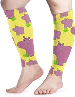 djydky Men Women Funny Hippo and Baby Calf Compression Sleeve Novelty Leg Support Calf Guards Sleeves Calf Pain Relief for Running