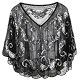PrettyGuide Women's Evening Cape 1920s Paisley Cocktail Flapper Beaded Shawl Black Silver