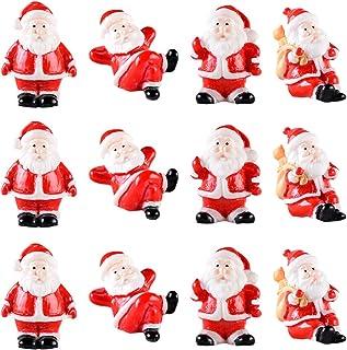 VALICLUD 12 Pcs Ornements De Noël Miniature Père Noël Figurines Décorations Belle Artisanat De Noël Mignon Résine Mini Fig...