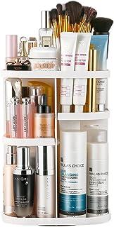 (Square, White) - Jerrybox Makeup Organiser 360 Degree Rotation Adjustable Multi-Function Cosmetic Storage Box, Large Capa...