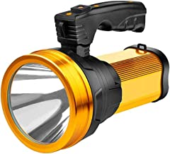 Super Bright Rechargeable Handheld LED Spotlight 6000 Lumen Portable Flashlight High Powered Searchlight Large Lithium Bat...