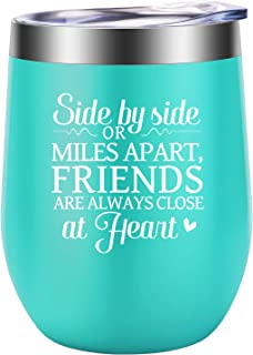Best Friend Gifts, Friendship Gifts for Women - Side by Side or Miles Apart Friends Gifts - Long Distance Birthday, Christmas Gifts for Her - BFF, Bestie Gifts - LEADO Best Friends Mug Wine Tumbler