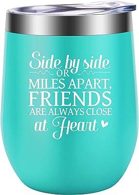 Best Friend, Friendship Gifts for Women - Funny Long Distance Friendship Gifts for Friends Female - Best Friend Birthday, Mothers Day Gifts for Friends, Bestie, Her, BFF Gifts - LEADO Wine Tumbler