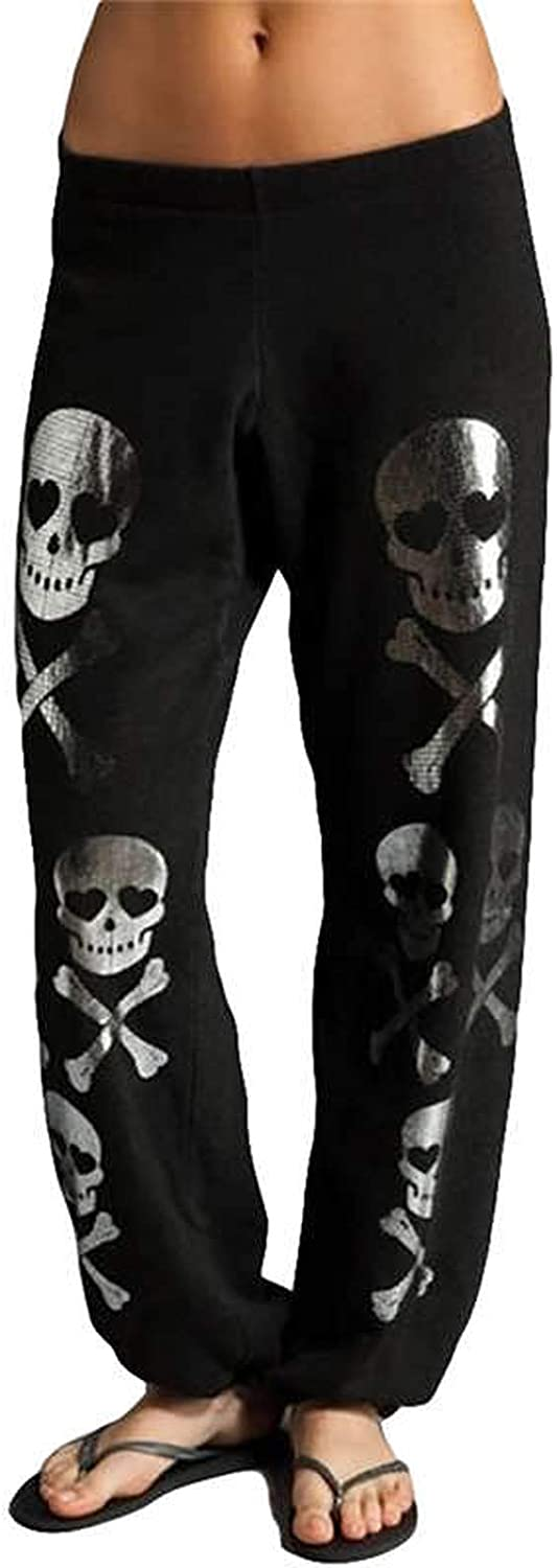 Everybody Let's Rock New Casual Plus Size Skull Trousers Women Loose Harem Pants Midwaist Drawstring Pants