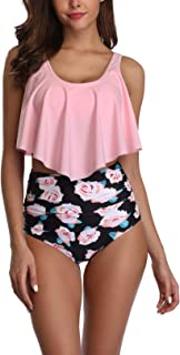 Rosiika Swimsuit for Women Two Pieces Bathing Suits Top Ruffled Racerback Swimwear with High Waisted Bottom Tankini Set