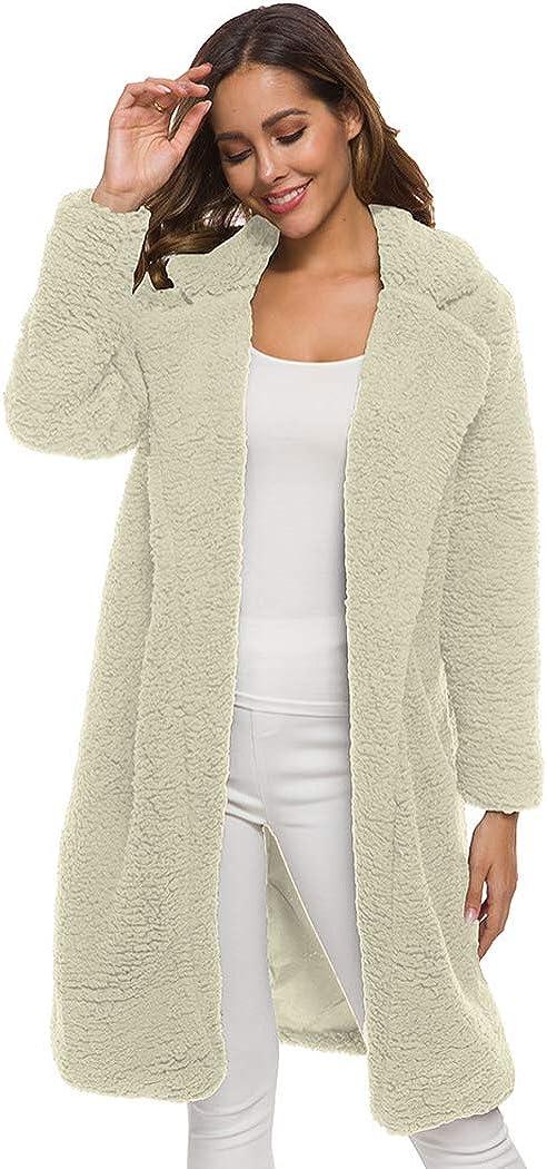 JLTPH Women's Fuzzy Fleece Lapel Open Front Long Cardigan Long Sleeve Faux Fur Warm Winter Coat Outwear Jackets with Pockets