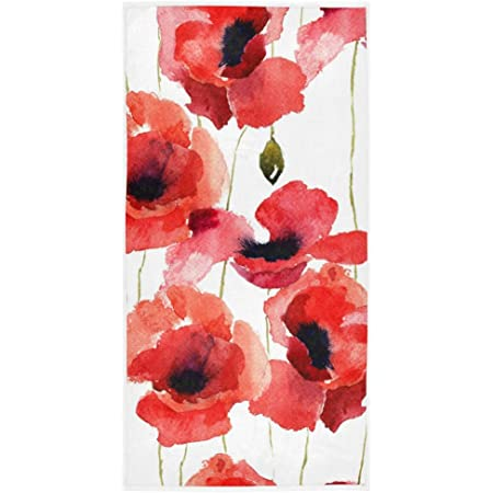 Red Poppy Flowers Hand Towel For Bathroom Watercolor Floral Bath Towel Fingertip Towel Soft Absorbent Guest Towel Multipurpose For Bathroom Kitchen Hotel Gym And Spa 16 X 30 Inch Kitchen