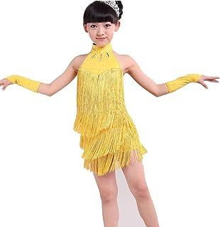 d5d7db035f228 Hougood Filles Latine Robe de Danse Costume Enfants Tango Rumba Samba  Dansant Vêtements Gland Diamond Dance