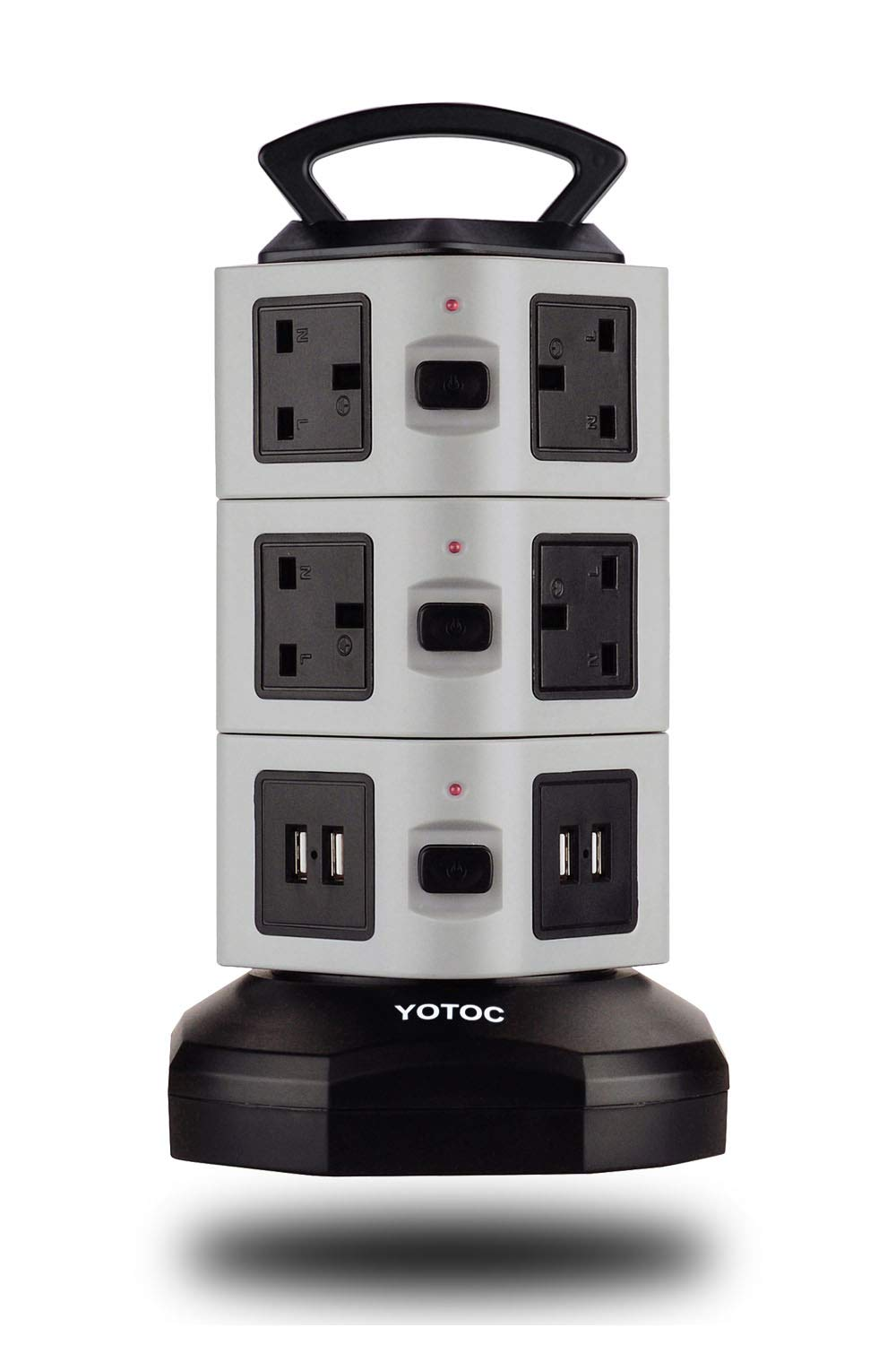 4 USB Ports 6 Way Outlets KOI Wire Length Retractable Vertical Tower Power Extension Cord with Fuse and Overload Protection Grey with Surge Protection 3M//9FT Tower Extension Lead