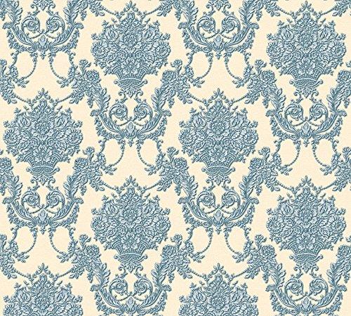 A.S. Création Vliestapete Chateau 5 Tapete mit Ornamenten barock 10,05 m x 0,53 m beige blau metallic Made in Germany 344926 34492-6