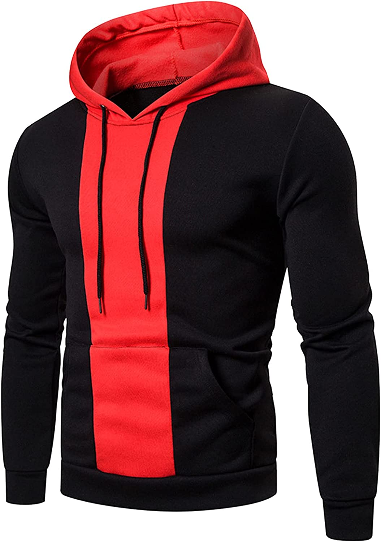 Hoodies for Men Fashion Blockcolor Athletic Hoodies Sport Sweatshirt Fleece Pullover Drawstring Tops With Pocket
