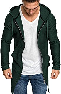 2019 3XL Men Trench Coats Fashion Drawstring Slim Casual Solid Jackets Outwear Warm Tops Open Front Hoodies Cardigan