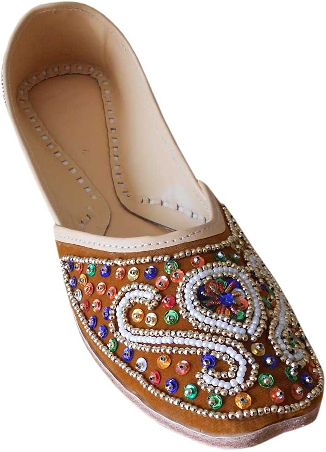 Kalra Creations Women's Traditional Indian Velvet with Sequence Work Ballet Flats