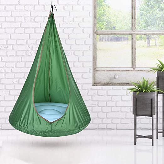 Amazon Com Voyoo Hanging Chairs For Bedrooms Kids Tent Chair With Stand Kids Pod Swing Seat Children Hammock Chair For Fun Indoor Outdoor Use Kitchen Dining