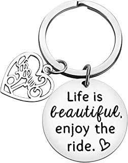 16th Birthday Gift Happy Birthday Keychain Life is Beautiful Enjoy The Ride Sweet 16 Keyring Inspirational Gifts Driving L...