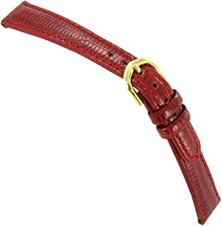 13mm T&C Genuine Lizard Ladies Red Padded Stitched Watch Band Strap Regular
