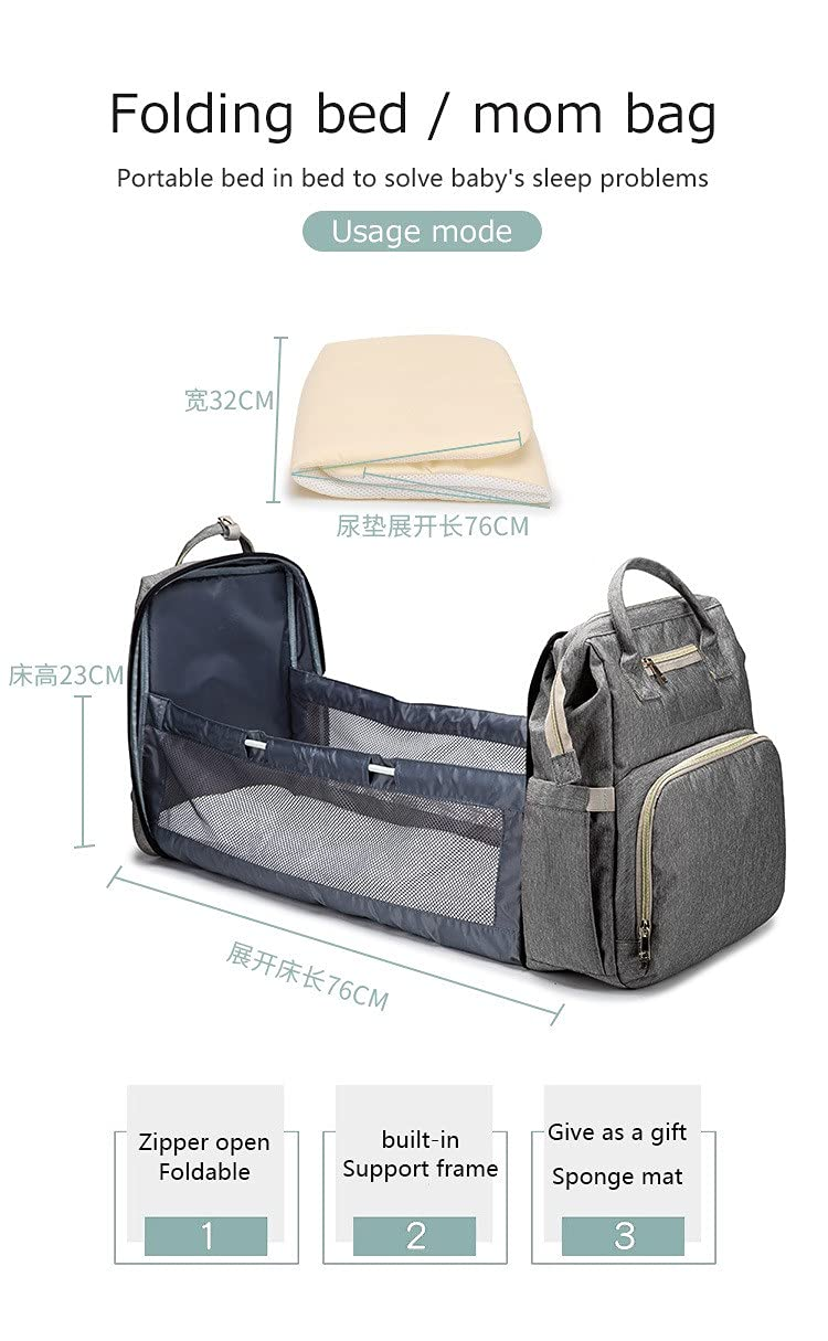 Baby Diaper Bag Backpack with Changing Station Baby Bags for Boys with Bassinet Bed Mat Pad Waterproof Stroller Straps Large Capacity Green/Pink/Gray/Blue (Grey)