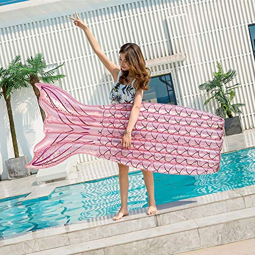JSUMING Aufblasbare Mermaid Schwanz Pool Schwimmen, Wasserbett Pneumatische Schwimm Flöße Für Kinder Erwachsene,Rosa