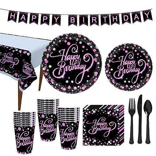 VAINECHAY Vajilla Cumpleaños Fiesta Rosado Negro,Vajilla Desechable Platos Vasos Tenedores Cucharas Cuchillos Mantel y Servilletas,Vajilla Desechable para Fiestas Feliz cumpleaños (16 Invitados)