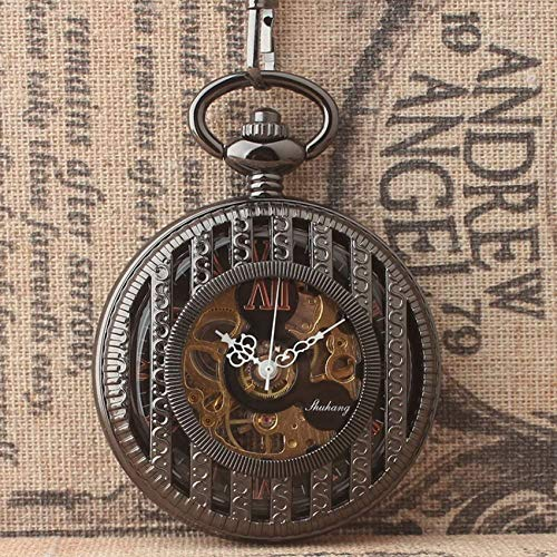 WEHOLY Vintage alte Männer und Frauen klassisches Design halbautomatische mechanische Taschenuhr Hohle römische Digitale Taschenuhr