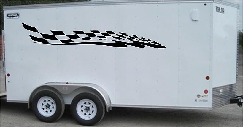 Checkered Flag Racing Trailer Decals Stickers Murals Set Auto Car Truck
