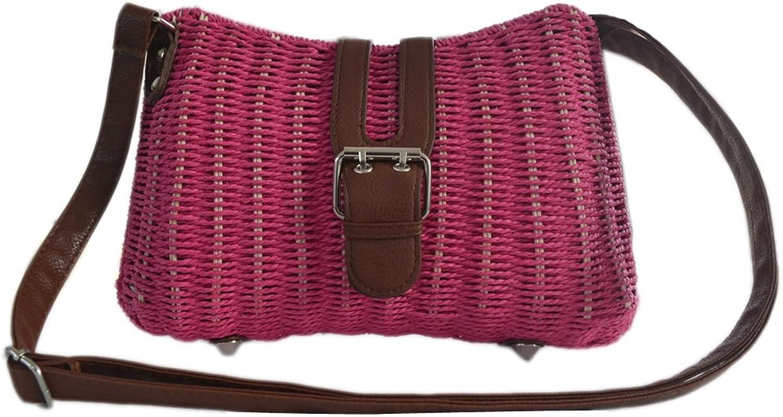 Womens Summer Beach Straw Weave Leather Rivet Shoulder Messenger Tote Purse Bag