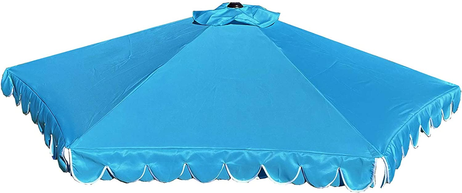 BELLRINO DECOR Replacement Scalloped Edge PEACOCK BLUE Umbrella Canopy for 9ft 6 Ribs (Canopy Only) C001-6P-PEACOCK