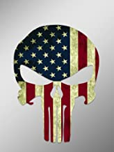 Punisher Skull American Flag Vinyl Decal Sticker   Cars Trucks Vans Walls Laptops Cups   Printed   6.25 inches   KCD921