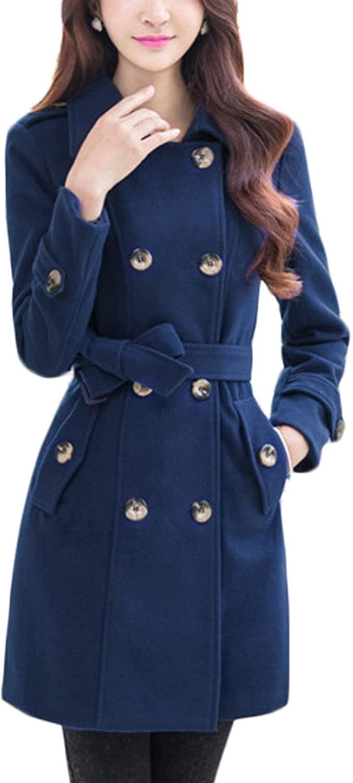Jenkoon Women's MidLength Wool Blend Trench Coat Pea Coat with Belt