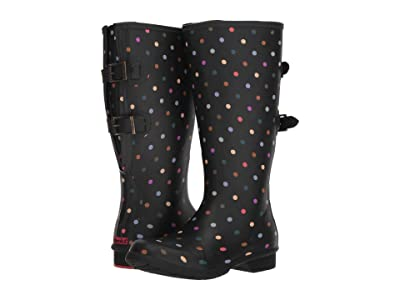 Chooka Versa Dot Rain Boot Wide Calf (Black) Women