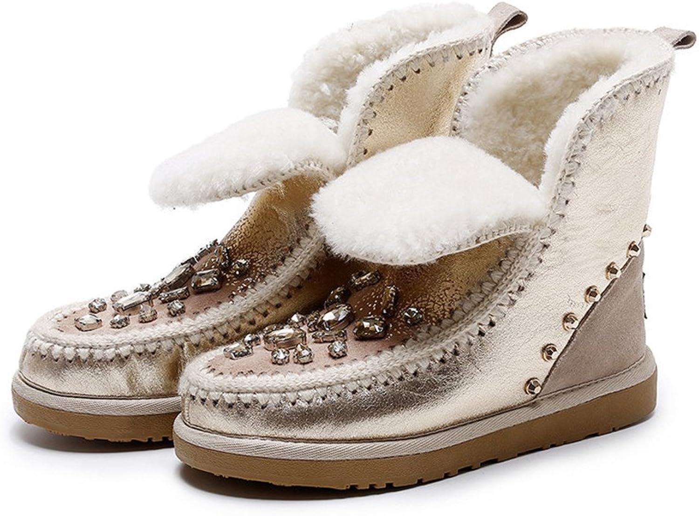 Neue Mode Frau Schneeschuhe Schneeschuhe Gold Silber Stiefeletten Warme Winterschuhe apricot 7  befasst sich mit Verkauf