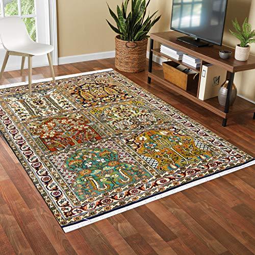 TrendyLiving4U tapijt woonkamer laagpolig Kashmir zijde Hamadan handwerk 80x123CM blauw
