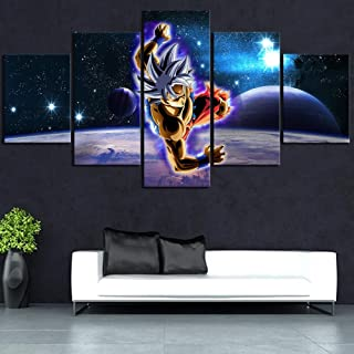 5 Pieces Canvas HD Prints Pictures Modern Wall Art Framework, Ultra Instinct Goku Poster Picture, Starry Night Sky Home Decorations Artwork,B,40×60×240×80x240×100×1