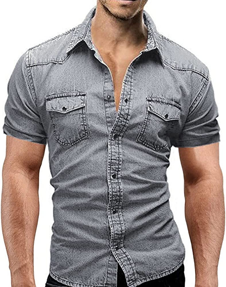 MOOKO Mens Slim Fit Short Sleeve Demin Shirts Casual Cowboy Button-Down Shirts for Mens Work Tops Blouse