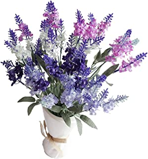 SKFLO Artificial Flowers Lavender Table Centerpiece Fake Face Flowers Wedding Bouquet Home Decor Purple Flowers Greenery Silk Flowers with Stems 4 Pcs