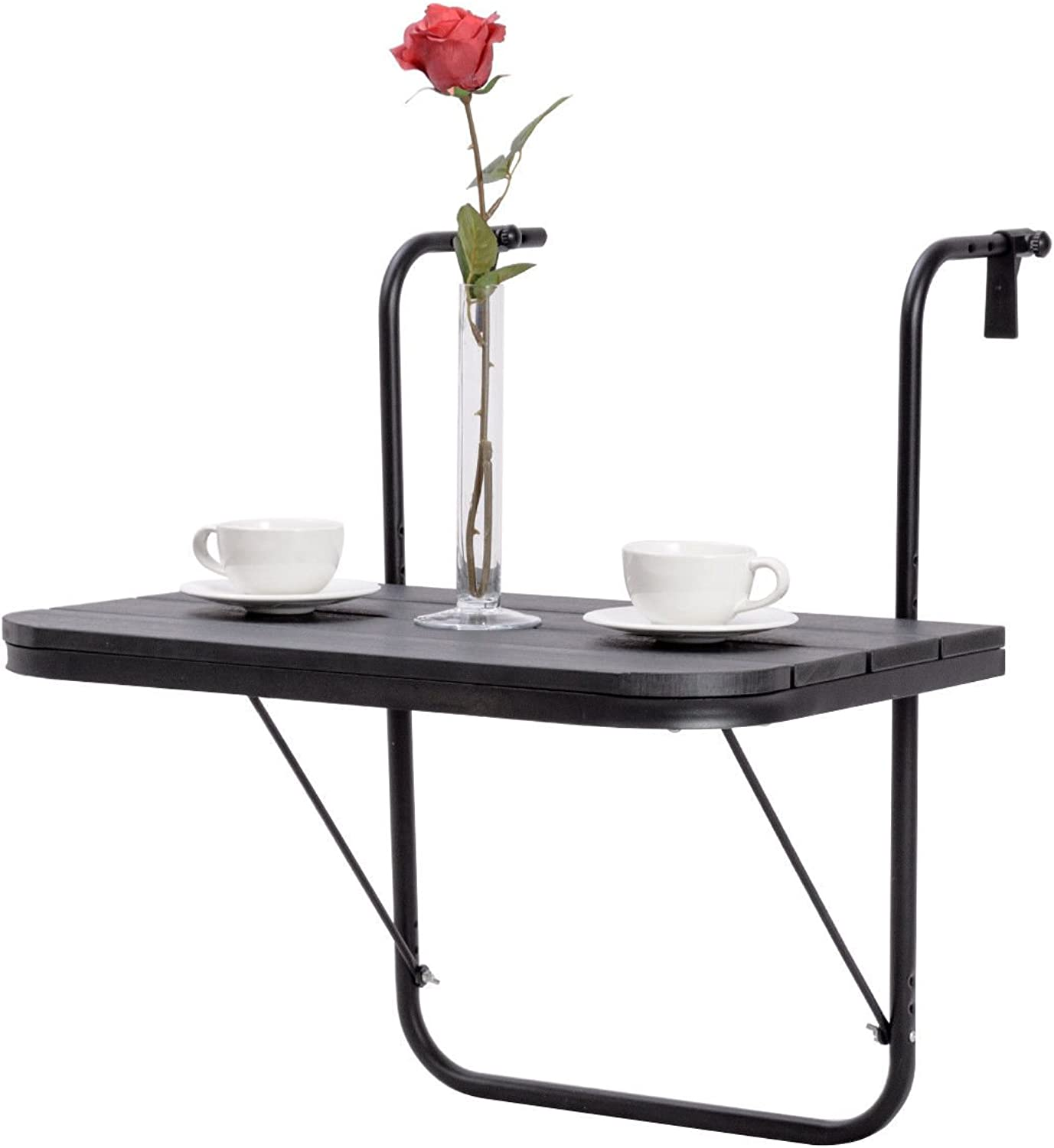 Adjustable Folding Deck Table Balcony Patio Serving Table Stand Hanging Railing